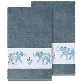 Linum Home Textiles Turkish Cotton Quinn Embellished Bath Towel Set
