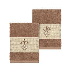 Linum Home Textiles Turkish Cotton Quinn Embellished Washcloth Set