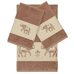 Linum Home Textiles 3-piece Turkish Cotton Quinn Embellished Bath Towel Set