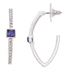 Dana Buchman Purple Swarovski Crystal Marquise Hoop Earrings
