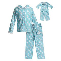 Girls 4-14 Dollie & Me Swan Top & Bottoms Pajama Set & Doll Pajamas