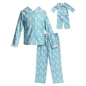 Girls 4-14 Dollie & Me Swan Top & Bottoms Pajama Set & Doll Pajamas