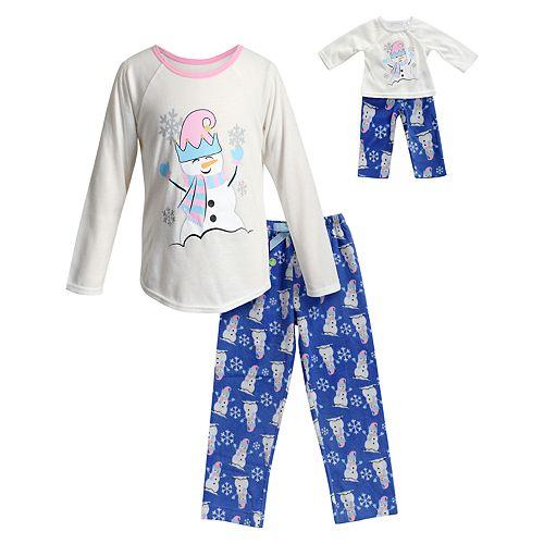 2659e7a9b063 Girls 4-14 Dollie & Me Snowman Top & Bottoms Pajama Set & Doll ...