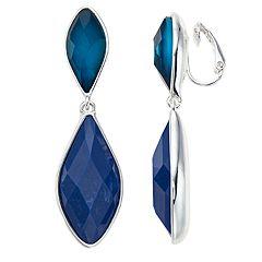 Dana Buchman Blue Simulated Crystal Clip-On Drop Earrings