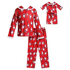 Girls 4-14 Dollie & Me Santa Claus Christmas Top & Bottoms Pajama Set & Doll Pajamas