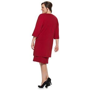 Plus Size Maya Brooke Beaded Dress & Duster Set