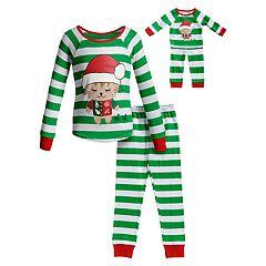 1c941b587 Girls 4-14 Dollie & Me Christmas Top & Bottoms Pajama Set & Matching Doll