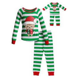 Girls 4-14 Dollie & Me Christmas Top & Bottoms Pajama Set & Matching Doll Pajamas