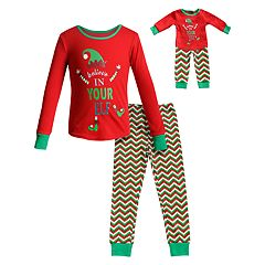 1e447e4b95 Girls 4-14 Dollie   Me Christmas Top   Bottoms Pajama Set   Matching Doll.  Green White Red