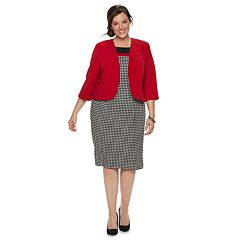 Plus Size Maya Brooke Houndstooth Dress & Jacket Set