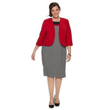 Plus Size Maya Brooke Houndstooth Dress & Jacket Set