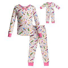 Girls 4-14 Dollie & Me Top & Bottoms Pajama Set & Matching Doll Pajama Set