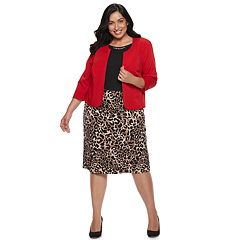 Plus Size Maya Brooke Animal Dress & Jacket Set