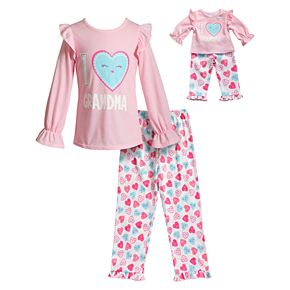 Girls 4-14 Dollie & Me Ruffled Top & Bottoms Pajama Set & Matching Doll Pajamas