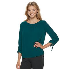 Women's ELLE™ Ruched-Sleeve Crepe Top
