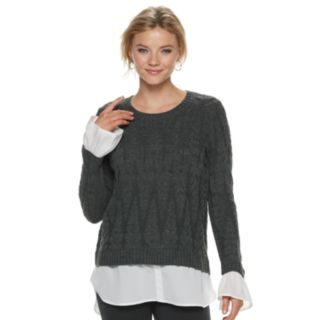 Women's ELLE? Cable Knit Mock-Layer Sweater