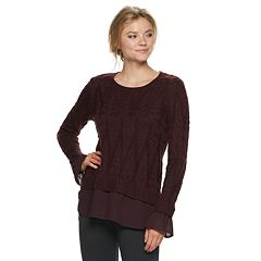 Women's ELLE™ Cable Knit Mock-Layer Sweater