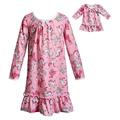 Girls 4-14 Dollie & Me Unicorn Ruffled Nightgown & Matching Doll Nightgown