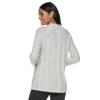 Women's ELLE? Cable-Knit Mockneck Swing Sweater