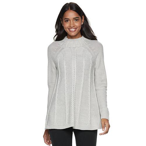 Women's ELLE™ Cable-Knit Mockneck Swing Sweater