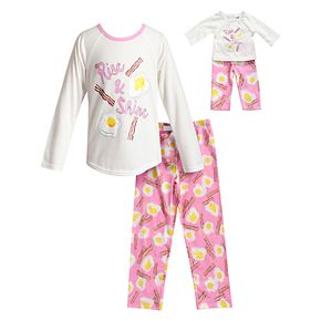 Girls 4-14 Dollie & Me Eggs & Bacon Breakfast Top & Bottoms Pajama Set & Matching Doll Pajamas