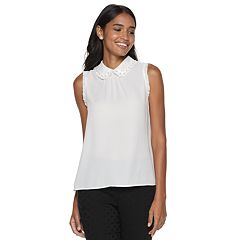 Women's ELLE™ Simulated-Pearl Collar Top