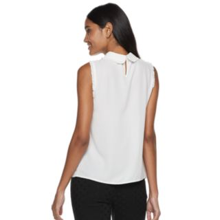 Women's ELLE? Simulated-Pearl Collar Top
