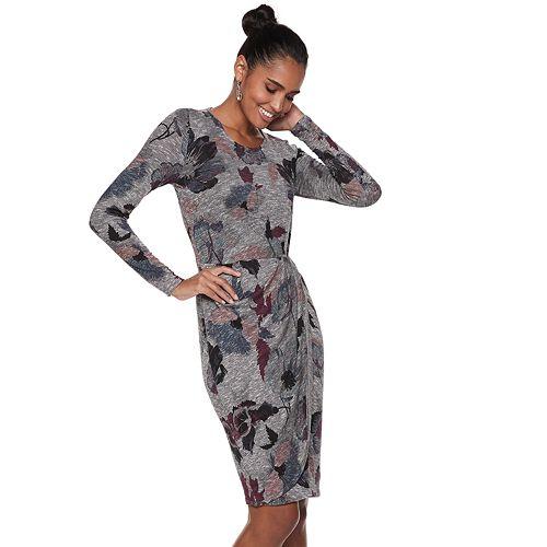 Women's Jennifer Lopez Pleated Faux-Wrap Dress