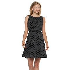 Women's ELLE™ Flocked-Dot Fit & Flare Dress