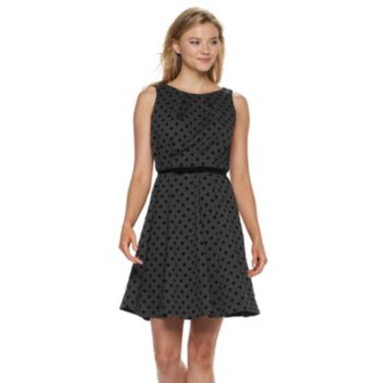 Women's ELLE? Flocked-Dot Fit & Flare Dress