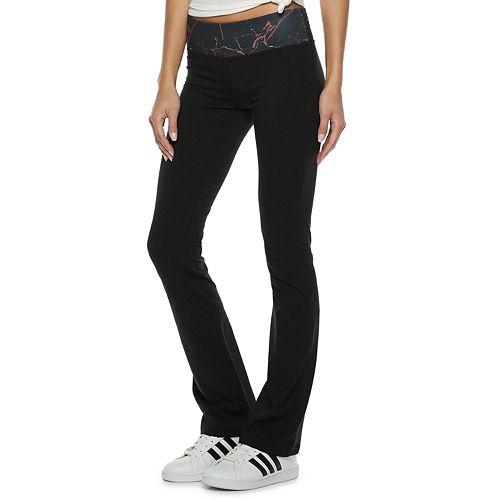 Juniors' SO® Mid-Rise Print-Waist Skinny Bootcut Yoga Pants