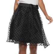 Women's ELLE? Flocked Dot A-Line Skirt
