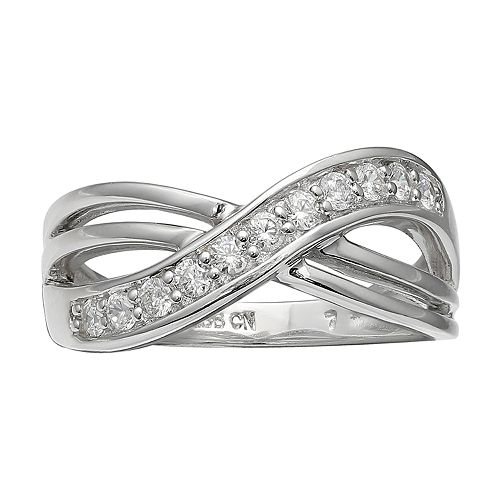 PRIMROSE Sterling Silver Cubic Zirconia Crossover Ring