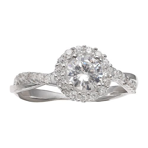 PRIMROSE Sterling Silver Cubic Zirconia Twisted Halo Ring