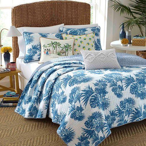 Nine Palms Blue Palm Cotton Quilt Set
