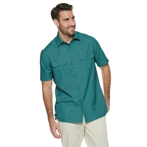 Big & Tall Croft & Barrow® Classic-Fit Heather Mesh Quick-Dry Button-Down Shirt