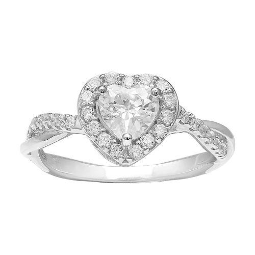 PRIMROSE Sterling Silver Cubic Zirconia Heart Halo Twist Ring