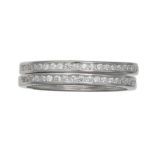PRIMROSE Sterling Silver Cubic Zirconia Band Ring Set