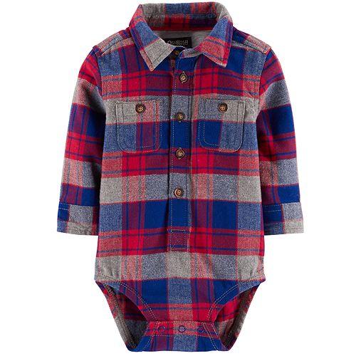 Baby Boy OshKosh B'gosh® Flannel Plaid Button Down Bodysuit