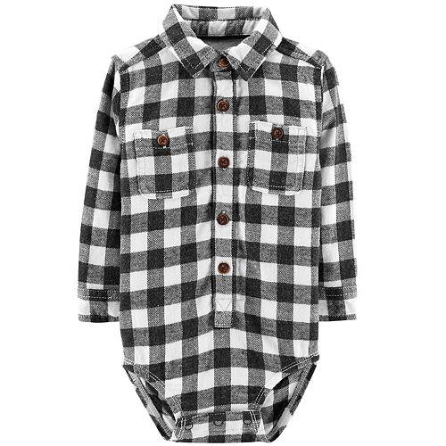 Baby Boy OshKosh B'gosh® Flannel Plaid Button Down Bodysuit