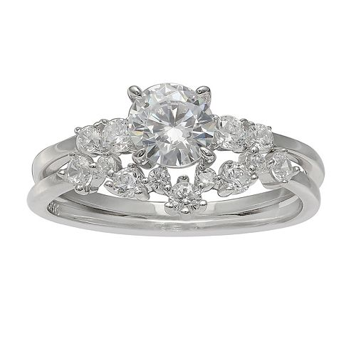 PRIMROSE Sterling Silver Cubic Zirconia Cluster Engagement Ring Set