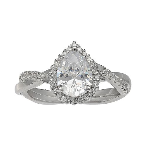 PRIMROSE Sterling Silver Cubic Zirconia Pear Halo Crossover Ring