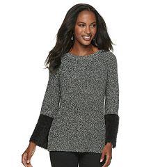 Women's Apt. 9® Eyelash Texture Bell Sleeve Crewneck Sweater