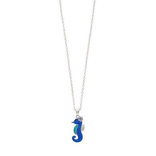 Silver Tone Seahorse Pendant Necklace