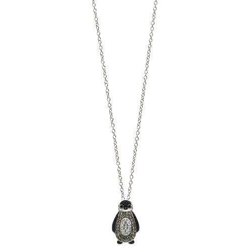 Silver Tone Penguin Pendant Necklace