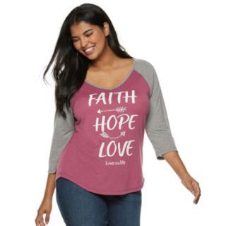 "Juniors' Plus Size love this life ""Faith Hope Love"" Raglan Graphic Tee"