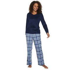 Women's Croft & Barrow® Microfleece V-Neck Sleep Top & Pants Pajama Set
