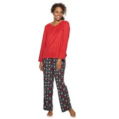 Women's Croft & Barrow® Microfleece V-Neck Top & Pants Pajama Set