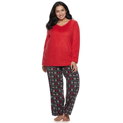 df56b535070 Plus Size Croft   Barrow® Microfleece V-Neck Top   Pants Pajama Set