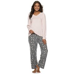 Petite Croft & Barrow® Microfleece V-Neck Top & Pants Pajama Set